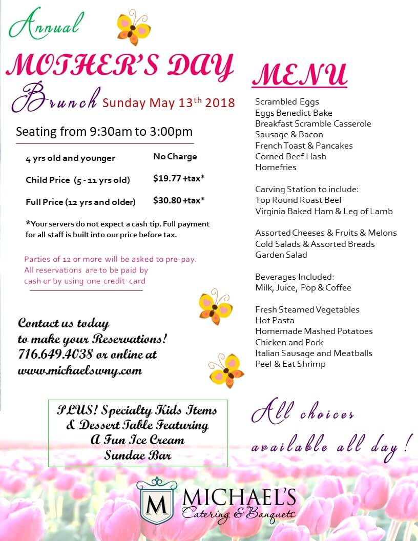 Mother\'s Day Brunch 2018 | Michael\'s Catering & Banquets